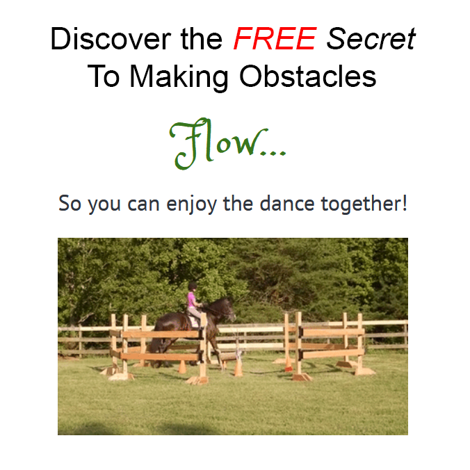 The secret to flow through the obstacles showing a horse walkin in the livestock pen.